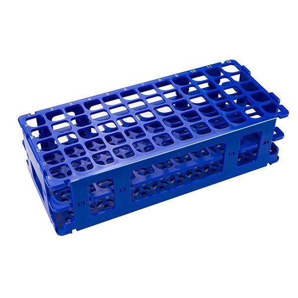 Test Tube Rack. For 16 mm Tubes, 60 Places, Polypropylene, Blue