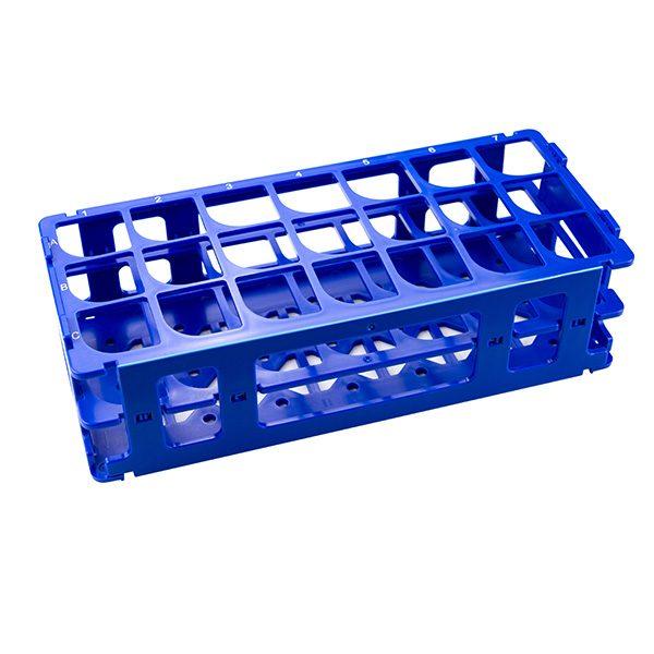 Test Tube Rack. For 30 mm Tubes, 21 Places, Polypropylene, Blue