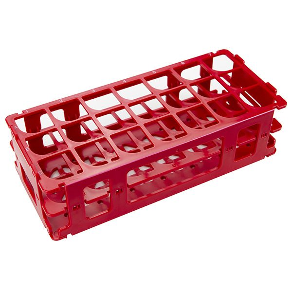 Test Tube Rack. For 30 mm Tubes, 21 Places, Polypropylene, Red