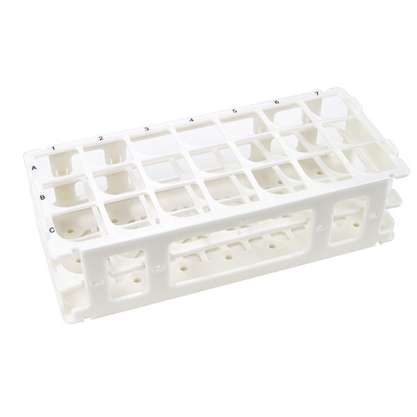 Test Tube Rack. For 30 mm Tubes, 21 Places, Polypropylene, White