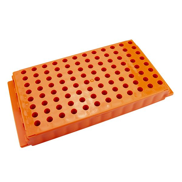 Microcentrifuge Tube Rack. 96 Places, Reversible, Polypropylene, Orange