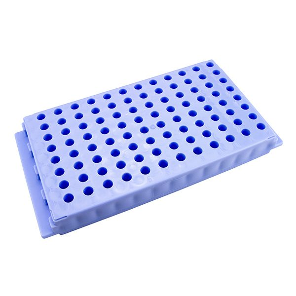 Microcentrifuge Tube Rack. 96 Places, Reversible, Polypropylene, Lavender