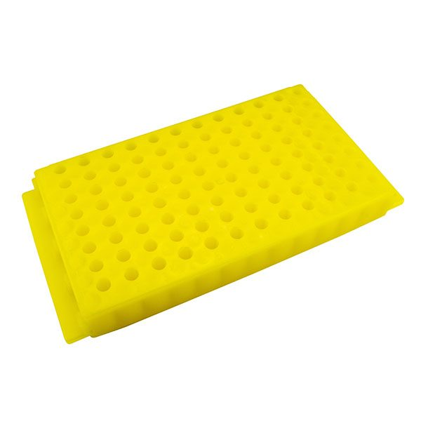 Microcentrifuge Tube Rack. 96 Places, Reversible, Polypropylene, Yellow
